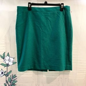 J.Crew Sz 14 green Pencil Skirt.